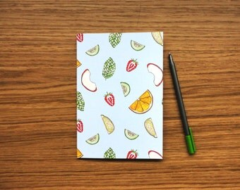 SALE * Plain Page A5 Notebook - Pimms O'Clock Notebook, Illustrated Stationary, Notepad, Cocktail Fruit Notebook