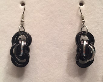 Twisted Black and Silver Earrings