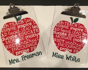 Teacher Clipboard Personalized gift, monogram gift, teacher, instructor, monogram clipboard, teacher Gift, Teacher appreciation,