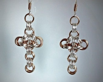 Chainmail Cross Earrings Chainmaille
