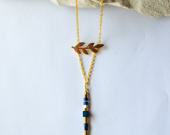 Long Pendant Blue Hematite stone cube with leaves on 18K Gold filled Necklace/Hematite Necklace/Cube Necklace/Stone Bar Necklace