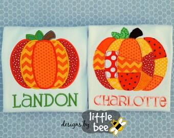 pumpkin fall halloween new design set patchwork applique outline embroidery design 4x4 5x7 EXP PES DST more Instant Download monogram