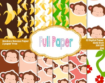 Monkey Banana Digital Papers-Monkey paper-Banana paper-Digital Paper-Curious George invite-paper decor-Party Suplies-Party Decor-Birthday