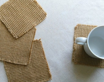 Burlap Coasters, Set of 4, Natural, Fabric Coasters, Drink Coaster, Modern Coasters.