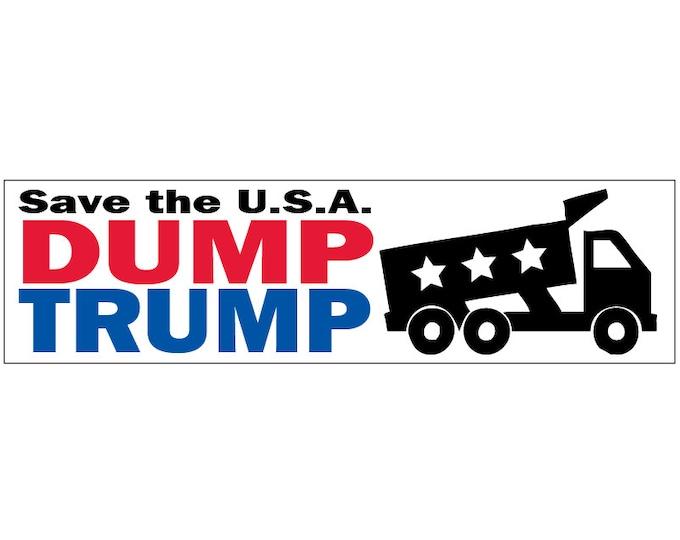 Dump Trump! -or- DUMP DRUMPF! Save the USA Decal Vinyl or Magnet Bumper Sticker
