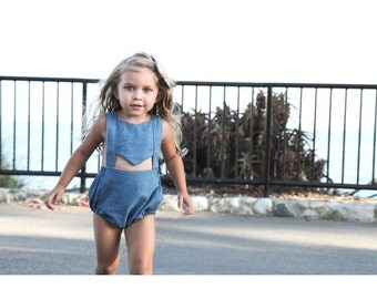 chambray romper- no ruffles