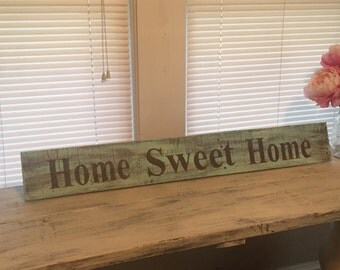 Handmade hand painted Home Sweet Home distressed wood sign, rustic sign, pallet wood, repurposed wood sign