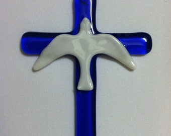 Fused glass crucifix with dove