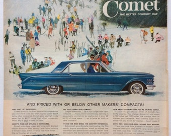 Vintage Print Ad 1961 60s Lincoln/Mercury Comet on ski day in the snow Large Ad 10.5 x 13.5