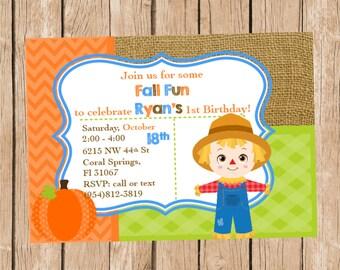 Scarecrow Boy Birthday Invitation