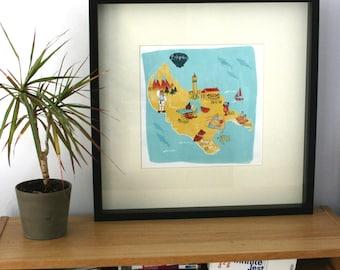 Illustrated Map of Zante/Zakynthos, print