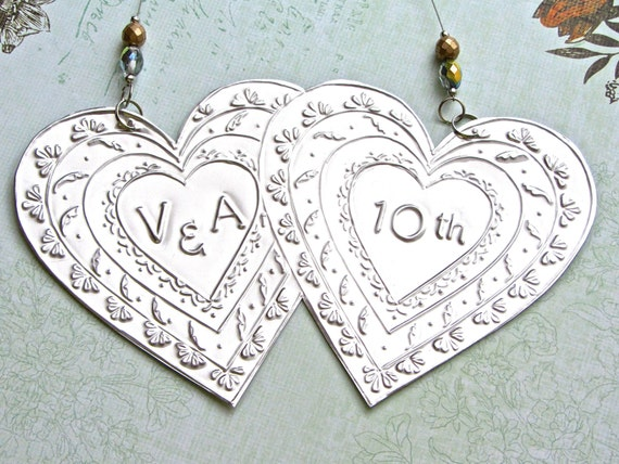 Tin Wedding Anniversary Gift: 10th Wedding Anniversary Ornament Custom By FoilingInLove