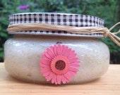 Body Scrub, Natural Sugar Scrub Organic Pink Gerber Daisy Designed Jar Coconut Oil/Moisturizing Smoothing Skin Care/All Natural Skin Care