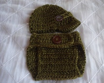 Newsboy Hat and Diaper cover Set for Preemie, Preemie newsboy hat, preemie crochet diaper cover, photo prop, infant hat and  diaper cover