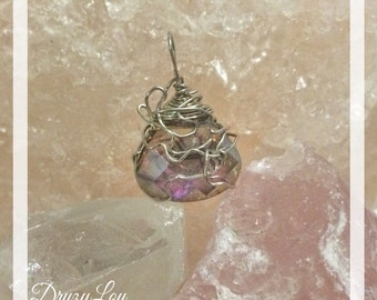 Iridescent Briolette Wire-wrapped Pendant