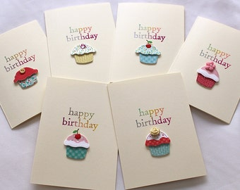 Set of 6 Handmade Cupcake Birthday Cards