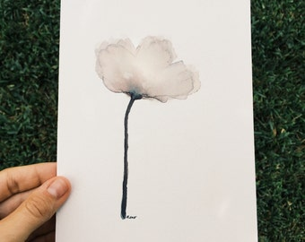 "ORIGINAL 5x7 White Gray and Brown Poppy Flower, Watercolor Painting, Art for Sale, Minimalist Art, Neutral Art,  Austin, Texas, ""Patience"""