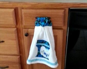 Appliqued electric mixer kitchen towel
