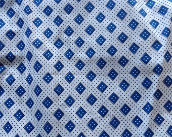 White Cotton Fabric with Blue and Black Pattern