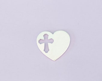 "1.25"" Large Aluminum Heart With Cross Cutout Stamping Blank  ~ 14G"