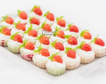 12pc Dollhouse Miniatures Handcrafted Strawberry & Milk Whip Cream Topping Fancy Cupcake Tart