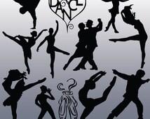12 Dance Silhouette Images, Digital Clipart Images, Clipart Design Elements, Instant Download, Black Silhouette Clip art