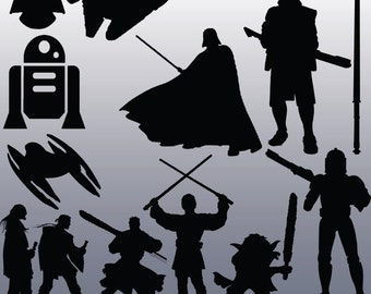 12 Star Wars Silhouette Clipart Images, Clipart Design Elements, Instant Download, Black Silhouette Clip art