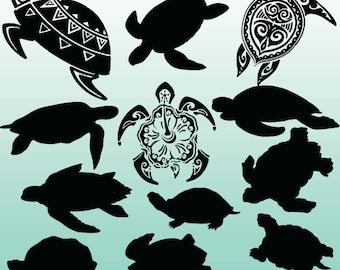 12 Turtle Silhouette Clipart Images, Clipart Design Elements, Instant Download, Black Silhouette Clip art