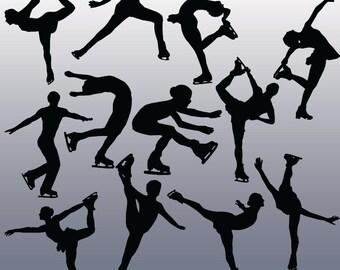 12 Figure Skating Silhouette Clipart Images, Clipart Design Elements, Instant Download, Black Silhouette Clip art