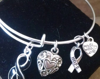 Melanoma Awareness 9/11 Remembrance Expandable Handmade Silver Colored Bangle Charm Bracelet Black Ribbon Support