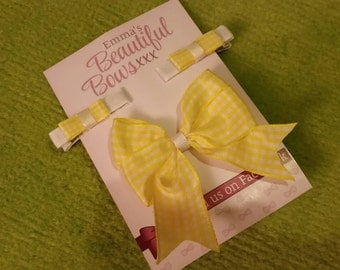Gingham School Hair bow Set ( Yellow)