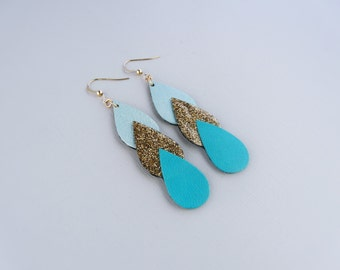 Earrings Ananta, leather and glittery fabric of form drop, 14 Karat Gold, light blue, mint green, Golden