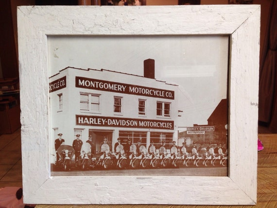Reclaimed White Barn Wood Harley Davidson Picture Frame