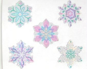 Sandylion Frozen Sparkly Snowflake Stickers - 3 repeat squares