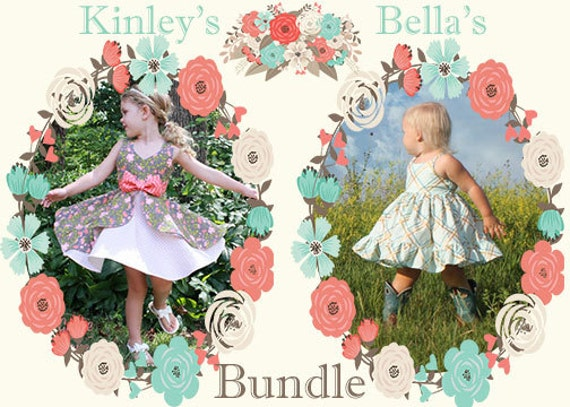 Kinley's Cascading Flounce Top & Dress And Bella's Dress and Maxi. PDF sewing pattern sizes 2t-12