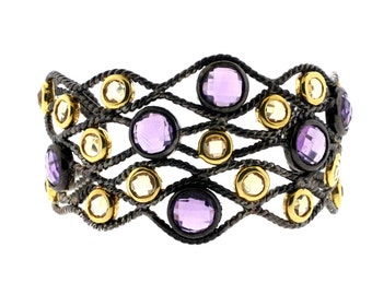 Amethyst and Citrine Bangle with Yellow gold Plating