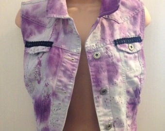 Denim slevless jacket hand tie dyed