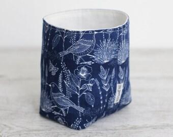 Small fabric storage basket - inky blue with birds