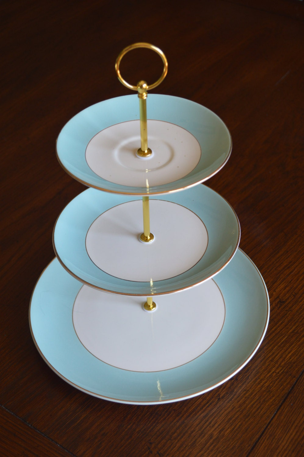 Three Tiered Dessert Stand Turquoise Gold 3 Tier Cupcake
