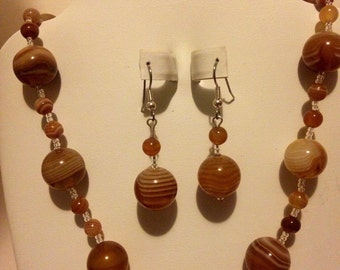 Brown Agate necklace and earrings -GMN037