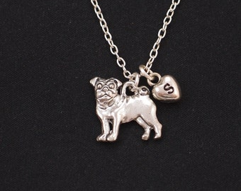 initial necklace, pug necklace, long necklace option, silver pug dog charm on silver plated chain, dog lover gift, pug jewelry, dog memory