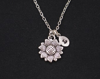 initial necklace, sunflower necklace, long necklace option, silver flower charm, sister friend gift, flower girl, bridesmaids gifts