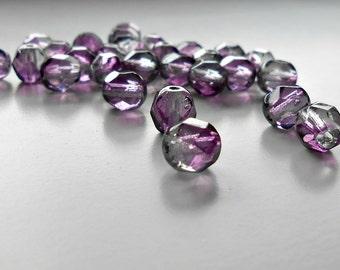 25 Dark Lilac Fire Polished Czech Bead, 6 mm Czech Round Beads, Supplies, Jewelry Supplies, Jewelry Making, Craft Supplies