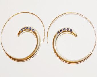Free Shipping Vintage Sterling Swirl Amethyst Earrings.