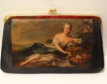 Vintage Victorian Era European Italy Art Scene Bag, with Gold Metal Frame.