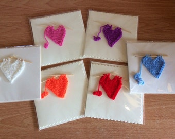 Pack of 6 Knitted greetings cards, knitted cards, gift cards, birthday cards, thank you cards, stationery, Cards, heart card, GREETINGS CARD