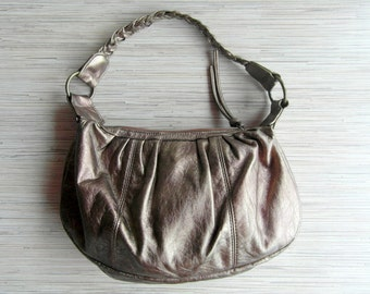 Vintage Gold Bronze Leatherette Handbag Soft Leatherette Purse