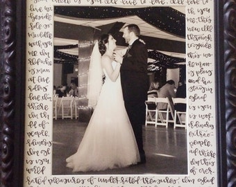Hand Lettered Wedding Vows or Song Lyrics // 11x14 Picture Frame Matte with 8x10 picture