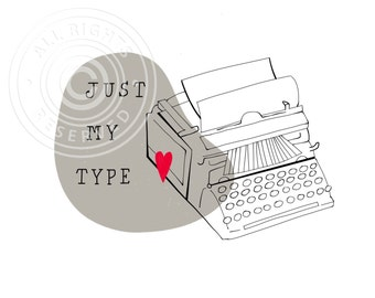 Typewriter greeting card // Just my type, love card, valentine card