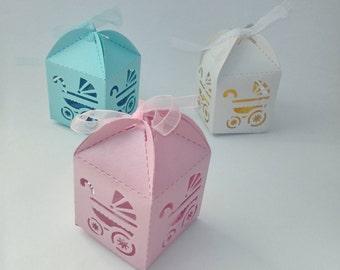 Baby shower favors x12 in Blue or white lasor cut in pram design